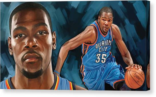 Oklahoma City Thunder Canvas Print - Kevin Durant Artwork by Sheraz A