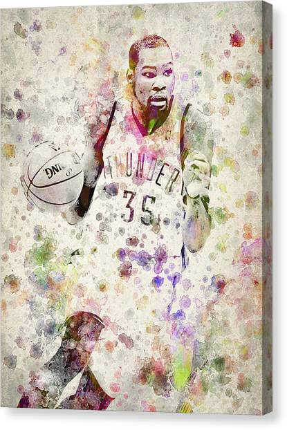 Oklahoma City Thunder Canvas Print - Kevin Durant In Color by Aged Pixel