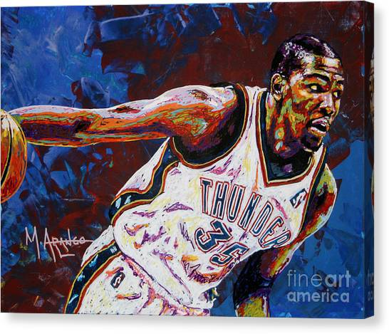 Oklahoma City Thunder Canvas Print - Kevin Durant by Maria Arango