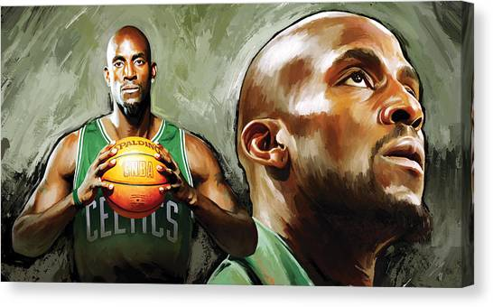 Brooklyn Nets Canvas Print - Kevin Garnett Artwork 1 by Sheraz A