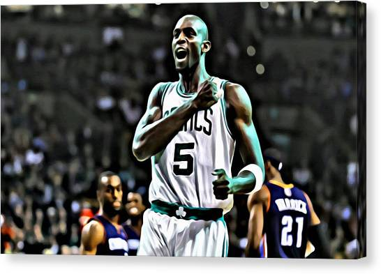 Brooklyn Nets Canvas Print - Kevin Garnett by Florian Rodarte