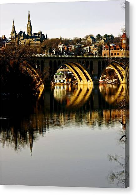 Key Bridge And Georgetown  Canvas Print