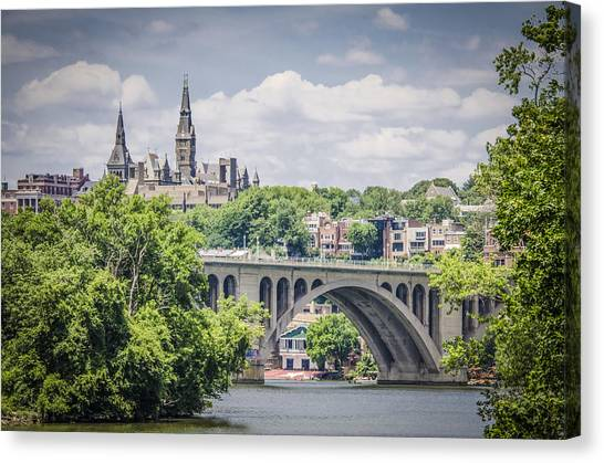 Columbia University Canvas Print - Key Bridge And Georgetown University by Bradley Clay
