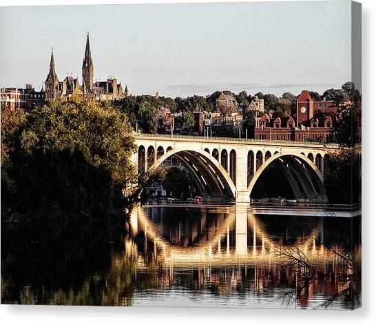 Big East Canvas Print - Key Bridge And Georgetown University Washington Dc by Bill Cannon
