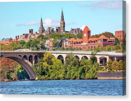 Big East Canvas Print - Key Bridge, Potomac River, Georgetown by William Perry