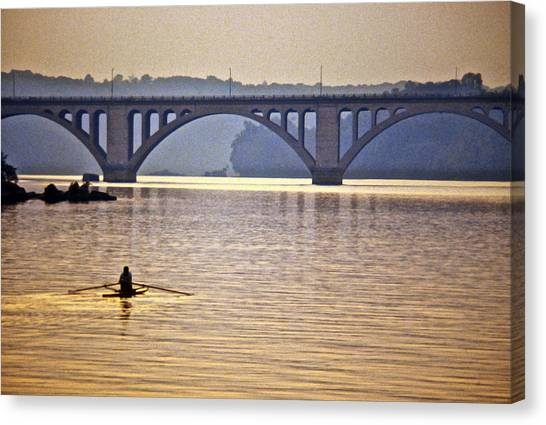 Key Bridge Rower Canvas Print