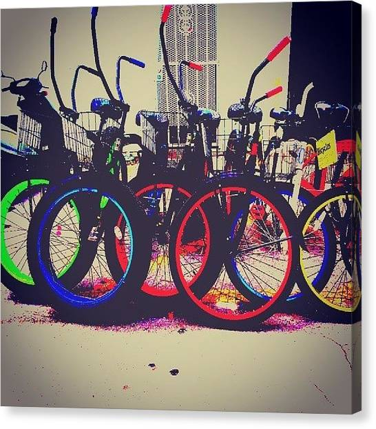 Decorative Canvas Print - Key West Bikes For Rent by Dani Hoy