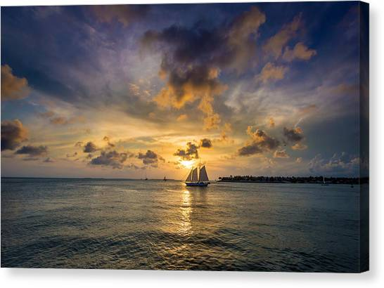 Key West Florida Sunset Mallory Square Canvas Print