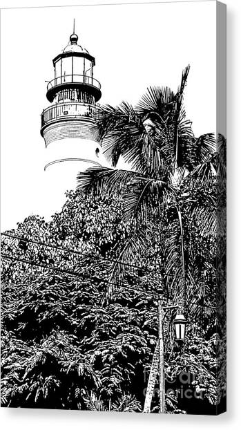 Key west house canvas print key west lighthouse above palm and mimosa trees florida black