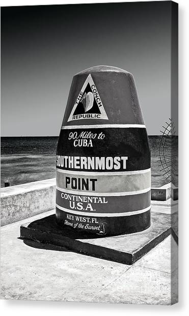 Key West Cuba Distance Marker Canvas Print