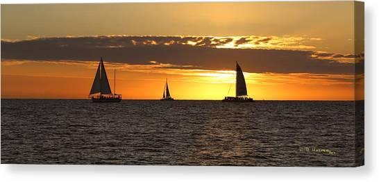 Key West Sunset Fleet Canvas Print