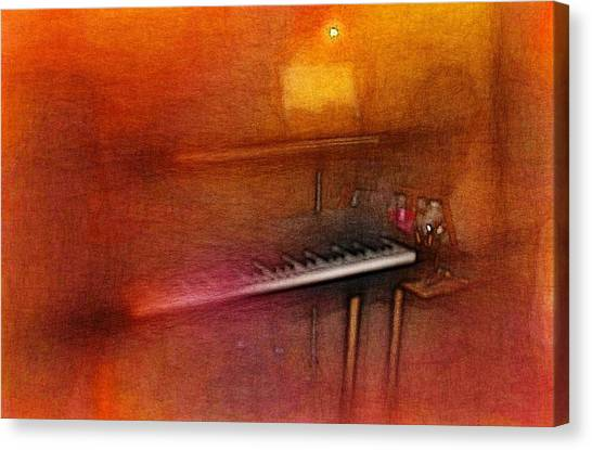 Synthesizers Canvas Print - Keyboard Rig / Colored Pencil Effect / Colored Vignette Effect by Robert Butler