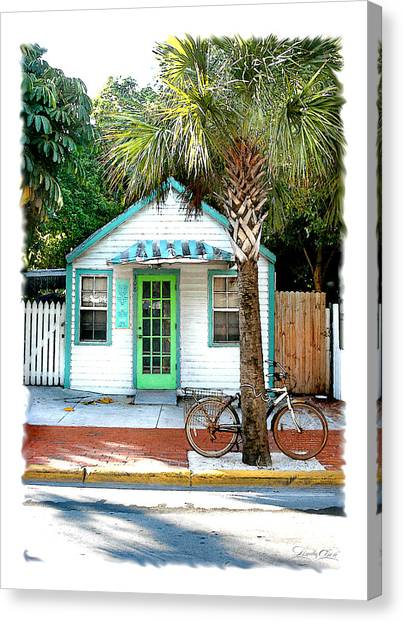 Keys House And Bike Canvas Print by Linda Olsen