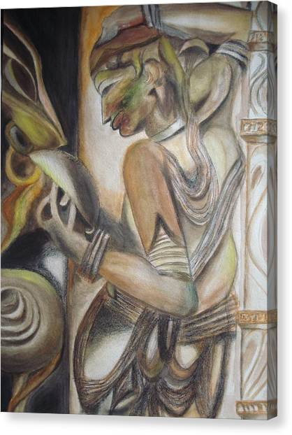 Khajuraho Dancer Canvas Print - Khajuraho Tantrik Dancer Applying Make-up by Prasenjit Dhar