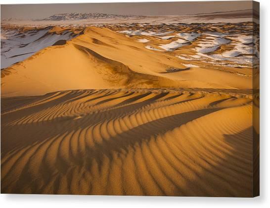 Gobi Desert Canvas Print - Khongor Sand Dunes In Winter Gobi Desert by Colin Monteath