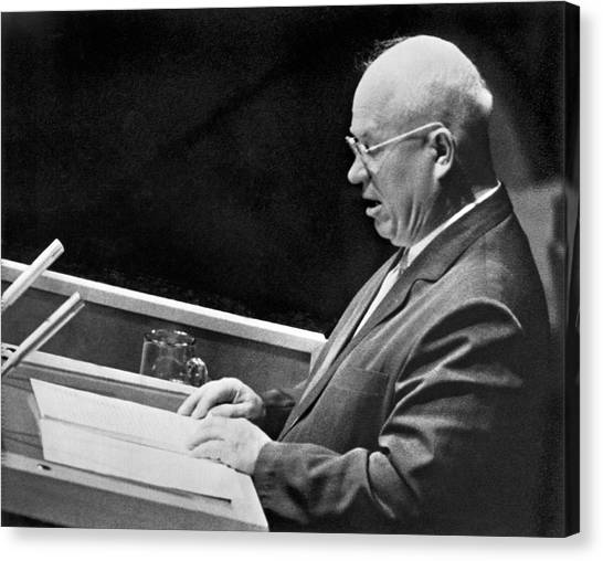 Cold War Canvas Print - Khrushchev At United Nations by Underwood Archives
