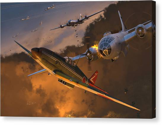 Japanese Canvas Print - Ki-61 Hien Vs. B-29s by Robert Perry