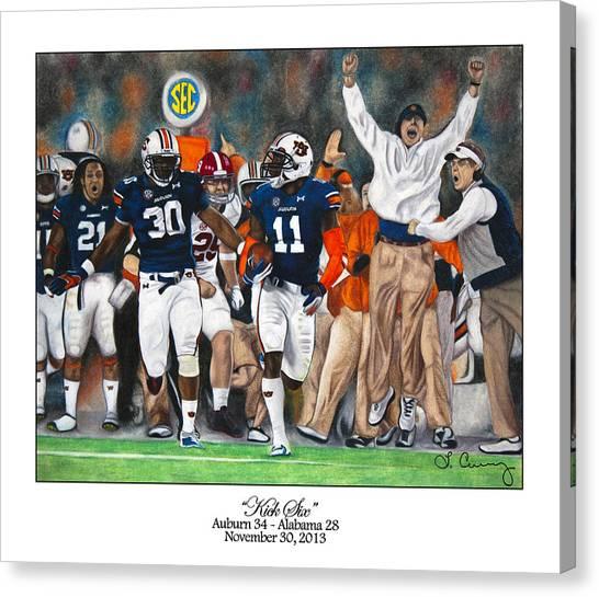 Alabama Canvas Print - Kick Six by Lance Curry