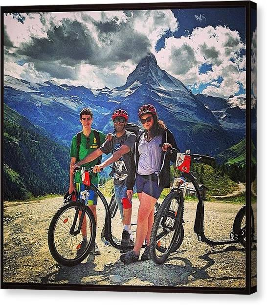 Matterhorn Canvas Print - Kickbiking Is Fun!!! #zermatt by Kareem Nour