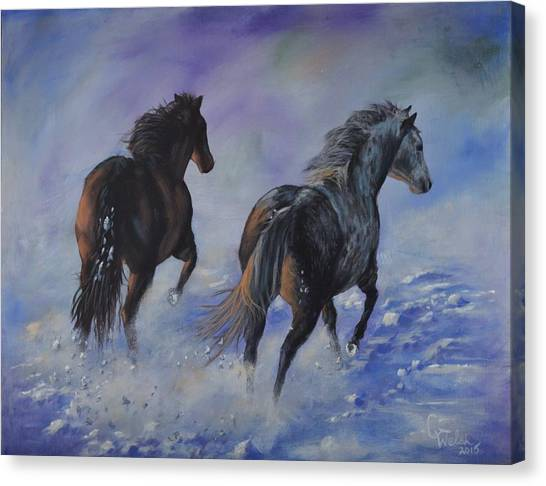 Kicking Up Snow Canvas Print