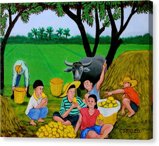 Kids Eating Mangoes Canvas Print