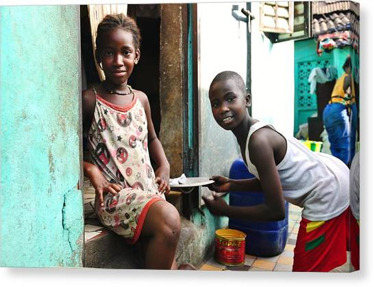 Kids Of Guinea Canvas Print by Manu G