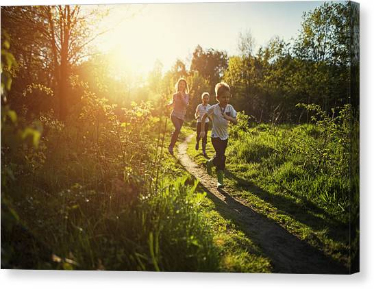Kids Running In Nature. Canvas Print by Imgorthand