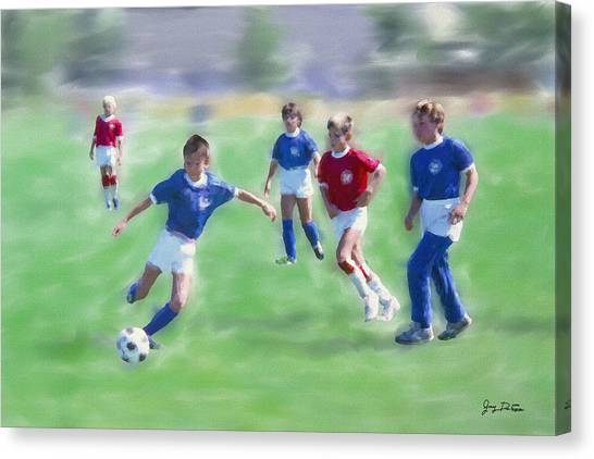 Kids Soccer Game Canvas Print