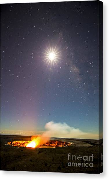 Kilauea Under The Milky Way Canvas Print