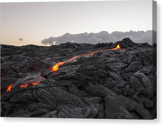 Lava Canvas Print - Kilauea Volcano 60 Foot Lava Flow - The Big Island Hawaii by Brian Harig