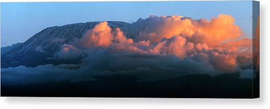 Mount Kilimanjaro Canvas Print - Kilimanjaro At Sunset by Babak Tafreshi