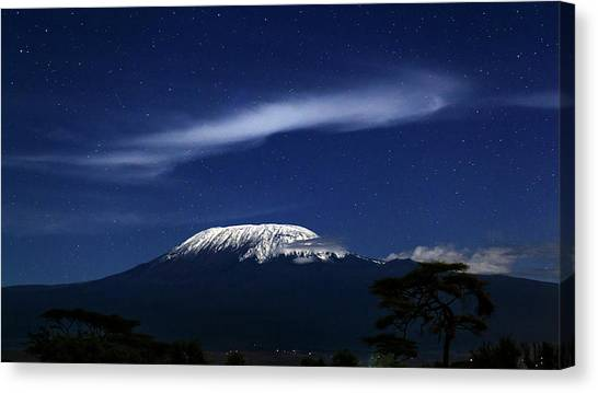 Mount Kilimanjaro Canvas Print - Kilimanjaro In Moonlight by Babak Tafreshi