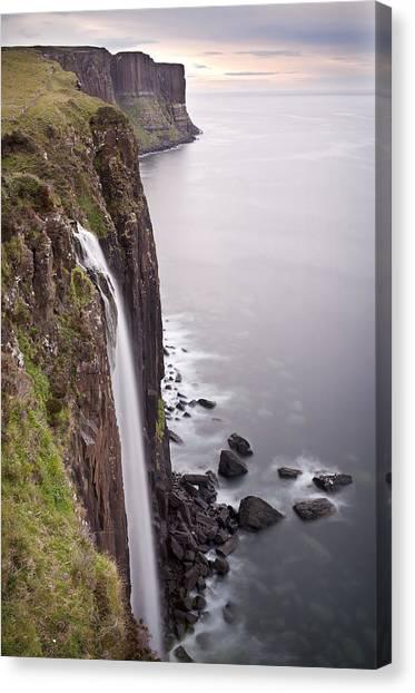 Canvas Print featuring the photograph Kilt Rock Waterfall Isle Of Skye Scotland by Georgi Djadjarov