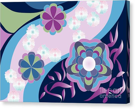 Kimono-inspired Summer Flowers By The River Canvas Print