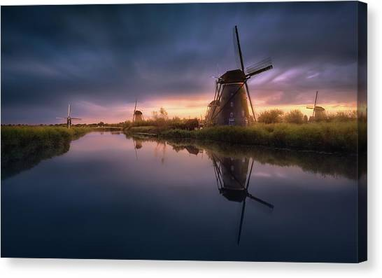 Holland Canvas Print - Kinderdijk Windmills by Jes?s M. Garc?a