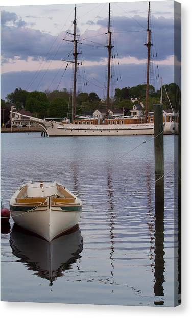 Kindred Spirits - Boat Reflections On The Mystic River Canvas Print