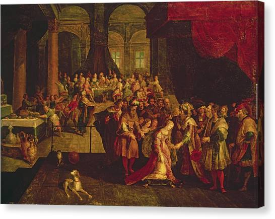 Old Testament Canvas Print - King Ahasuerus Crowns Esther Oil On Canvas by Frans II the Younger Francken
