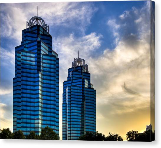 Canvas Print featuring the photograph King And Queen Towers - Atlanta by Mark E Tisdale