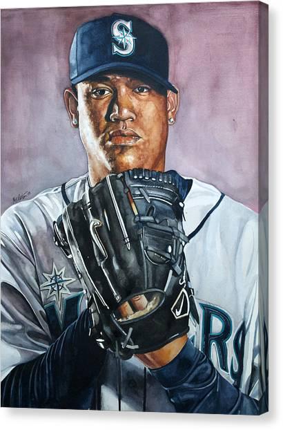 Seattle Mariners Canvas Print - King Felix Hernandez by Michael  Pattison