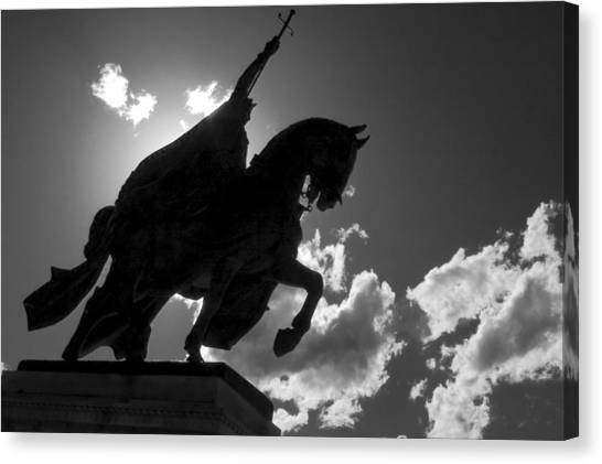 King Horseback Statue Black White Canvas Print