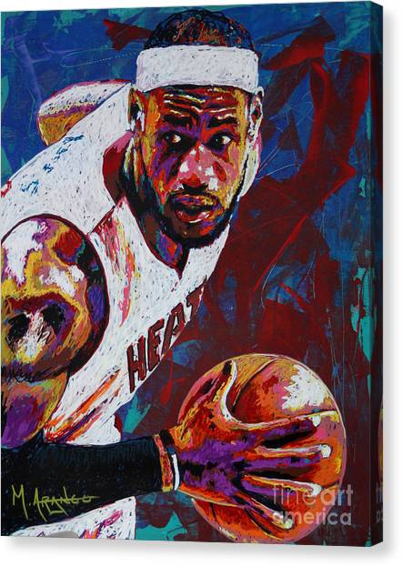 Lebron James Canvas Print - King James by Maria Arango