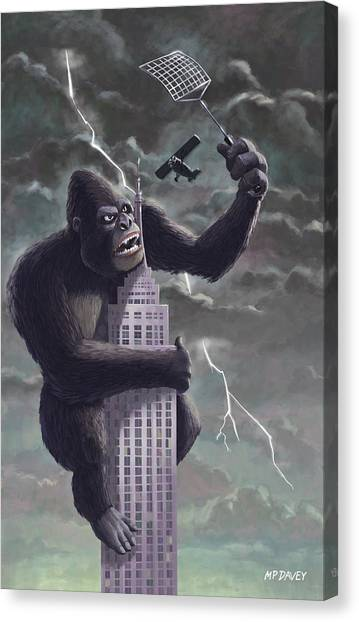 Monkeys Canvas Print - King Kong Plane Swatter by Martin Davey
