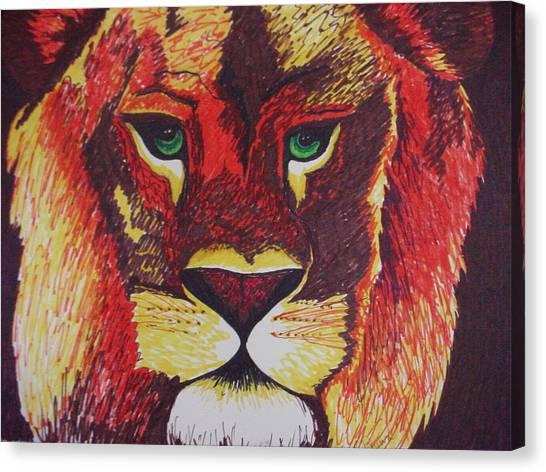 Lion In Orange Canvas Print