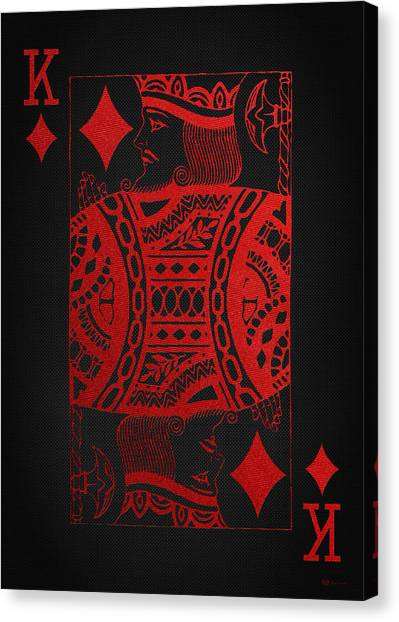 King Of Diamonds In Red On Black Canvas   Canvas Print