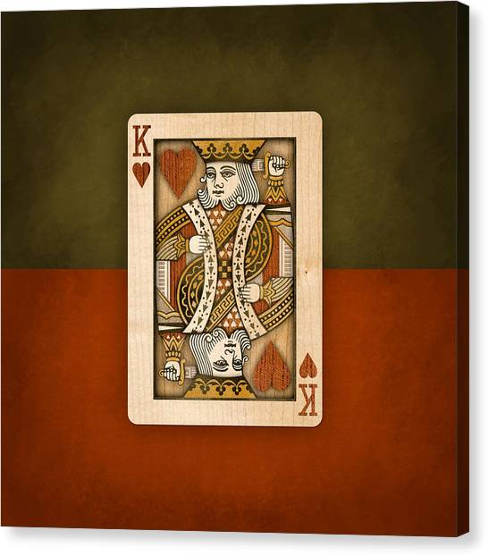 King Of Hearts In Wood Canvas Print