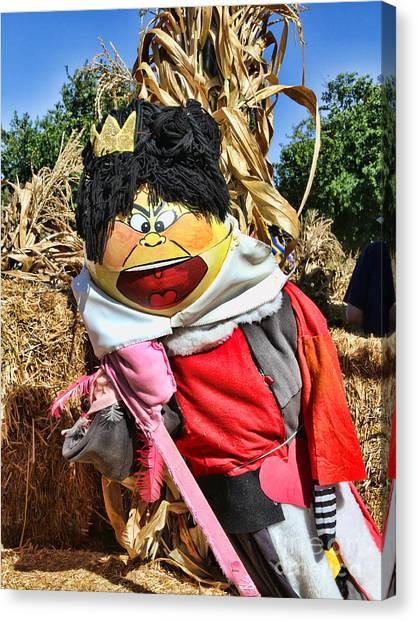 Corn Maze Canvas Print - King Of Hearts Scarecrow By Diana Sainz by Diana Raquel Sainz