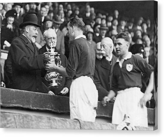 Presentations Canvas Print - King Presents Soccer Trophy by Underwood Archives