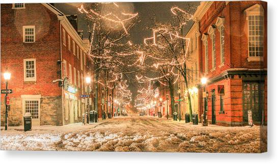 Christmas Lights Canvas Print - King Street by JC Findley