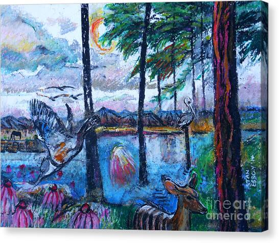 Kingfisher And Deer In Landscape Canvas Print