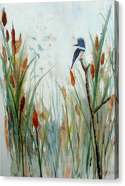 Kingfisher Dragonflies And Cattails Canvas Print